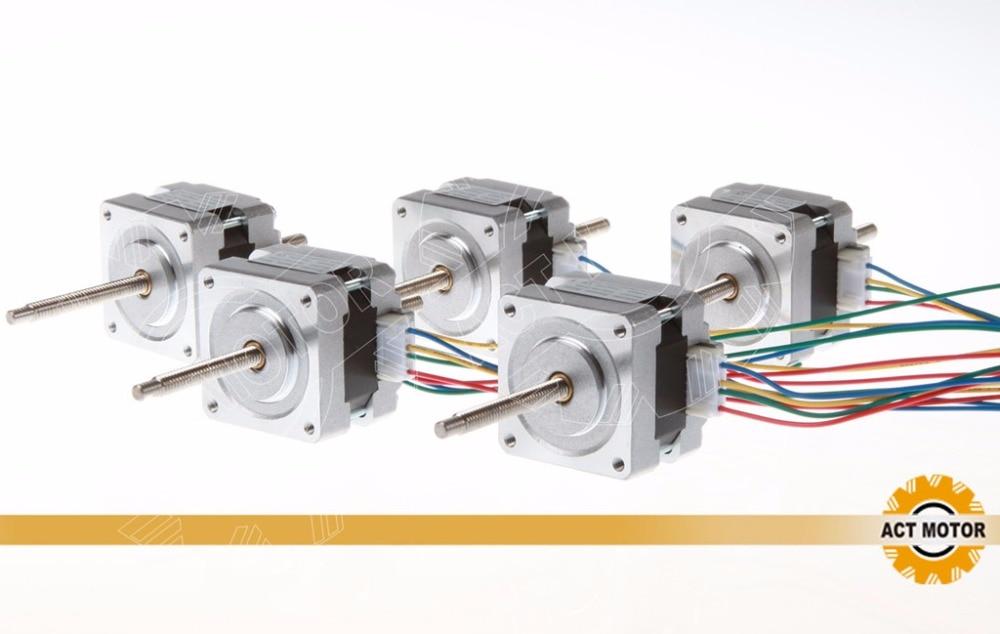 free to EU 4 LEAD Nema16 linear Motor 30oz in ,12V, 0.4A,34mm,0.01mm/step