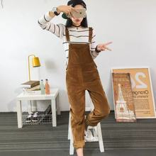 Spring Jumpsuits Women 2018 Slim-type Corduroy Overalls Female New Mori girl pocket Solid color Pants Cute Casual Jumpsuits(China)