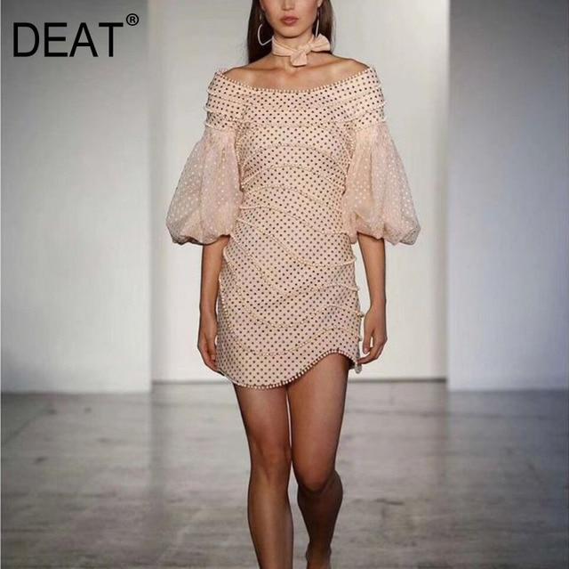 [DEAT] 2020 spring New Arrival Fashion Slash Neck Lantern Sleeve Beading Casual Half Sleeve Sheath Women Dress Lady KB550 1