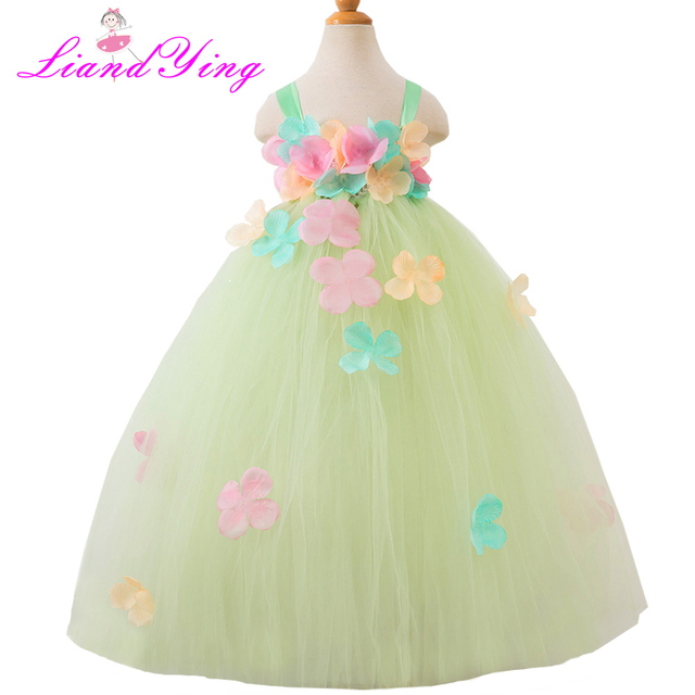 S Handmade Tutu Dress Le Green Easter Pastel Elegant Flower Birthday