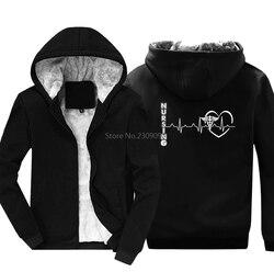 Novo coração de enfermagem impressão engraçado hoodies de algodão dos homens engrossar manter quente camisolas hip hop jaqueta legal tops harajuku streetwear