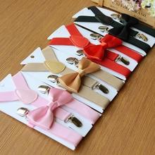8 цветов, Модный деловой смокинг на подтяжках с галстуком-бабочкой, Свадебный костюм для маленьких мальчиков и девочек
