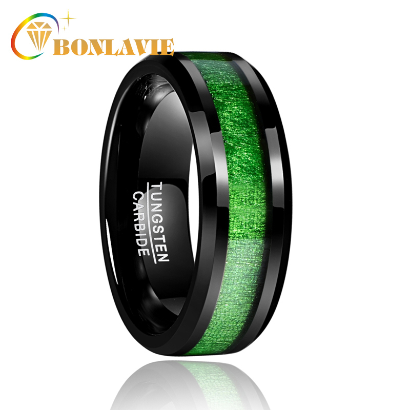 2018 Vintage Width 8mm men's jewelry rings with green line Inlaid Maple Electroplated Black Tungsten Steel Ring for sale