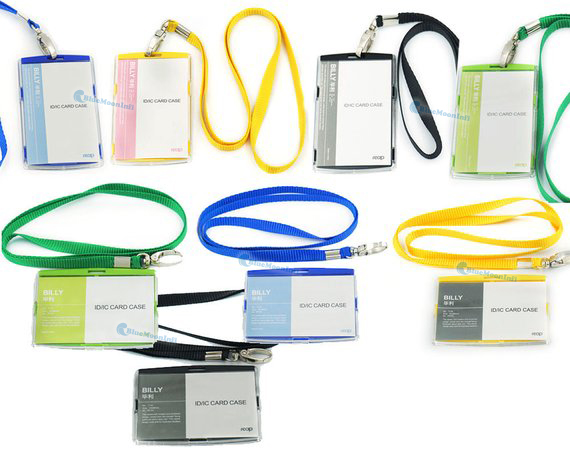 Neck Strap Yellow Plastic ID Card Holder With Yellow Lanyard
