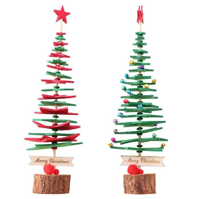 Mini Jungle Bells Tree Baubles Xmas Tree Ornaments Wooden Crafts
