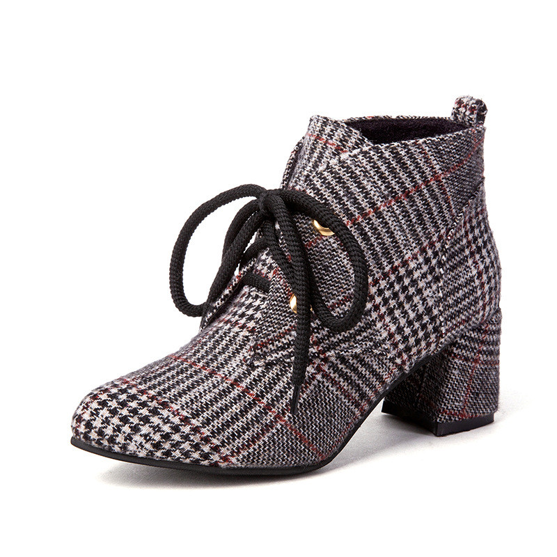 2018 Lace Up Women Boots Fashion Plaid Pointed Toe High ...