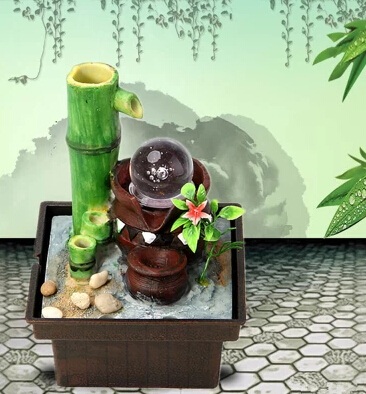 Desktop Water Fountain Feature Bamboo Lucky Feng Shui Ornaments Office Decorations Home Decoration Resin Crafts
