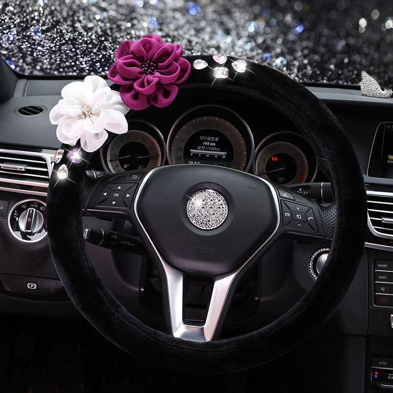 New Flower Crystal Car Steering Wheel Cover Winter Plush Rhinestone Auto Steering-Wheel Cover for Women Girls - Black