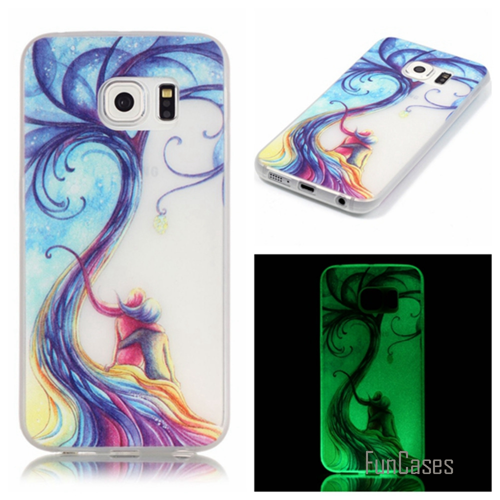 New Fashion Luminous night Slim phone Cases for Samsung Galaxy S6 edge G9250 Fluorescence Soft TPU Silicon back cover skin