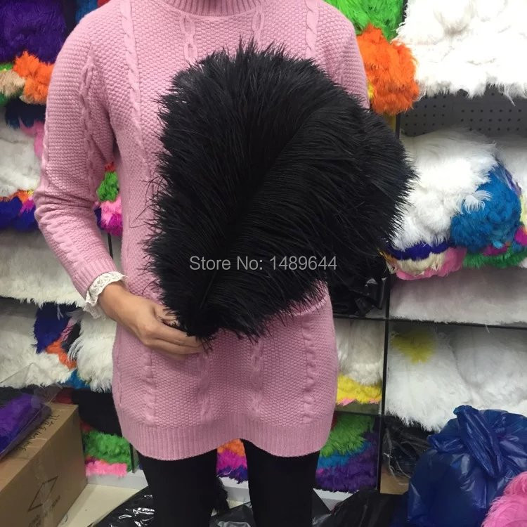 Hot factory sales 50pcs high quality black ostrich feathers 14 16 inches 35 40 cm