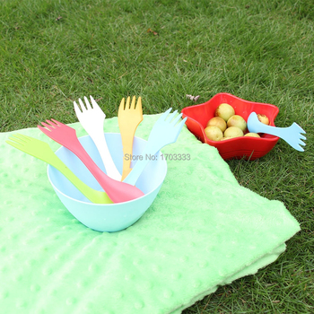 Wholesale 200pcs Plastic spoon fork- outdoor spork 6 colors Free Shipping By DHL Fedex