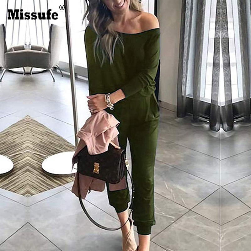 Missufe Sexy One Shoulder Solid Rompers For Women Slim Waist Party Overalls 2019 Bodysuits Women's Spring Autumn Female Jumpsuit