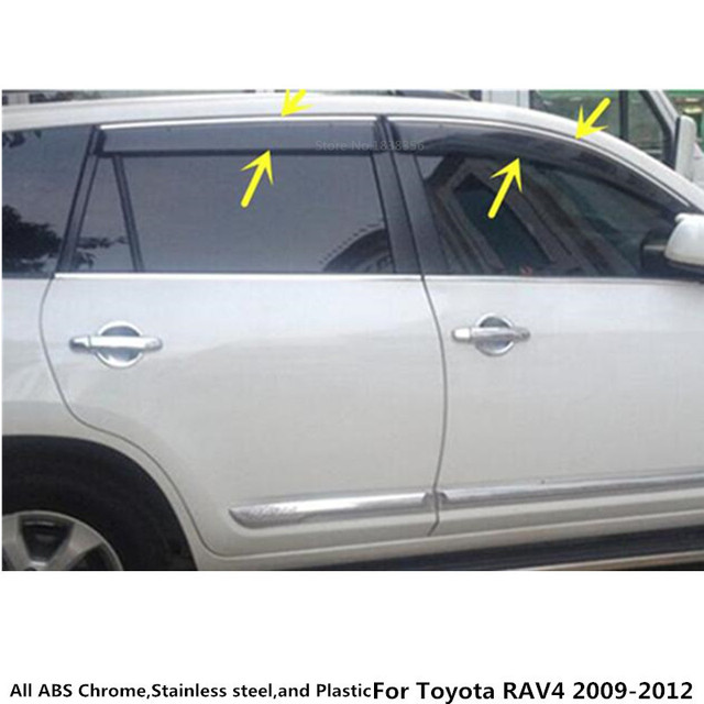 For Toyota RAV4 2009 2010 2011 2012 car styling body stick cover plastic Window glass Wind Visor Rain/Sun Guard Vent part 4pcs