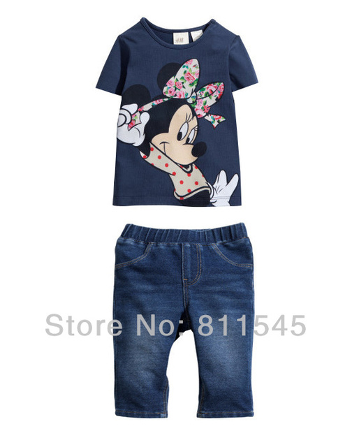 Navy Cute Cartoon Baby Girls Summer Set T-Shirt Shorts Conjunto Jeans De Menina Fantasias Infantil Kids Suit Childrens Clothing