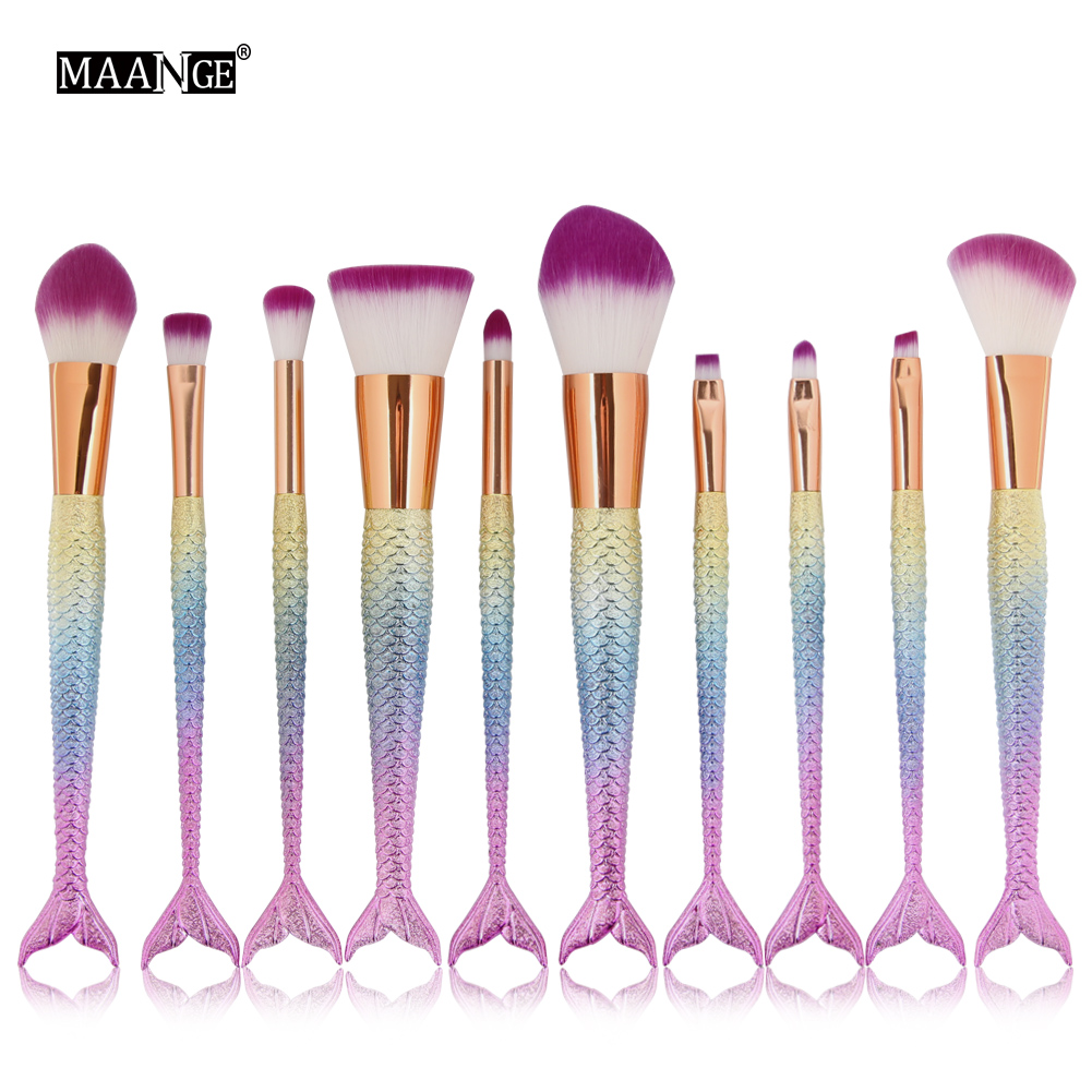 Newest 6/10pcs/set Mermaid Color Make Up Eyebrow Eyeliner Blush Blending Contour Foundation Cosmetic Beauty Makeup Brush Tools kainuoa mermaid makeup brushes foundation eyebrow eyeliner blush blending contour hair brush red shell cosmetic make up brush
