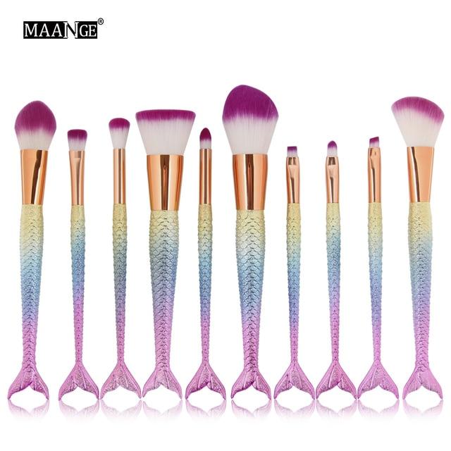 Newest 6/10pcs/set Mermaid Color Make Up Eyebrow Eyeliner Blush Blending Contour Foundation Cosmetic Beauty Makeup Brush Tools
