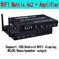 WI-FI HDMI матрица 4X2 4 в 2 из HDMI splitter 4*2, Поддержка IOS/Android WI-FI display, 4 К x 2 К, Бас/выход динамика