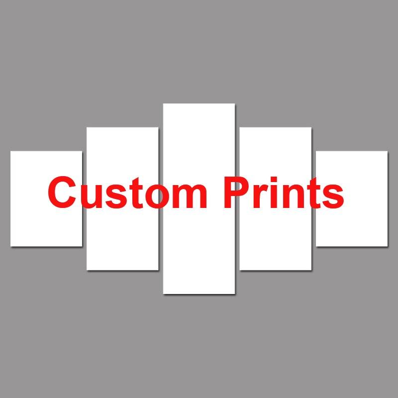 Envío de la gota personalizado impresiones pintura lienzo por encargo marco 5 Panel Modular decoración PENGDA