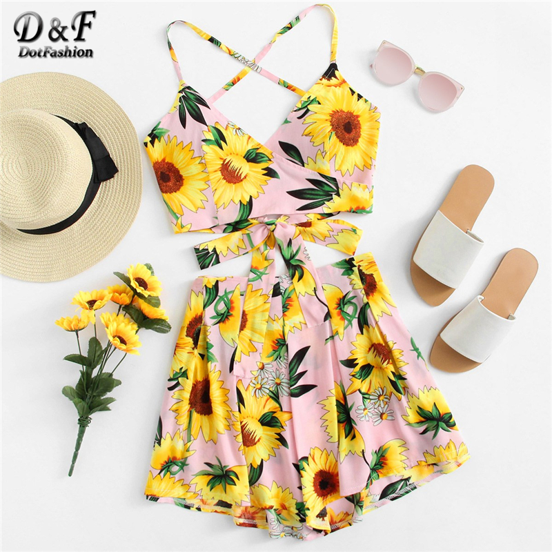 f23edee632 Dotfashion Pink Belted Floral Print Knot Cami Top And Short Co Ord Women  2019 Summer Vacation Criss Cross Beach Two Piece Set-in Women's Sets from  Women's ...