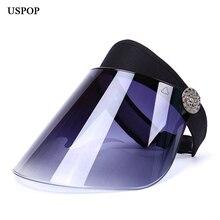 USPOP kobiety anty uv obiektyw kapelusz kobieta plastikowe szerokie rondo kapelusz słońce w stylu casual, letnia wolna obrotowa pusta górna plastikowa czapka z daszkiem