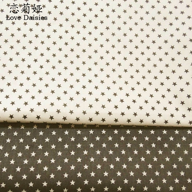 100 Cotton Off White Dark Gray Small Stars Twill Cloth Diy For Kids Bedding