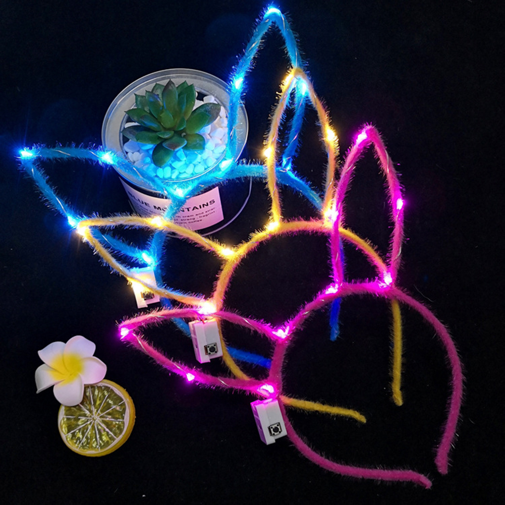 2020 New Colours Random Delivery Women Girls LED Flashing Hair Hoop Glowing String Lights  Party Hat Accessories Hot Sale