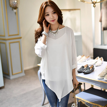 shirt female 2017 new fashion slim casual round collar irregular hem chiffon blouse women wholesale