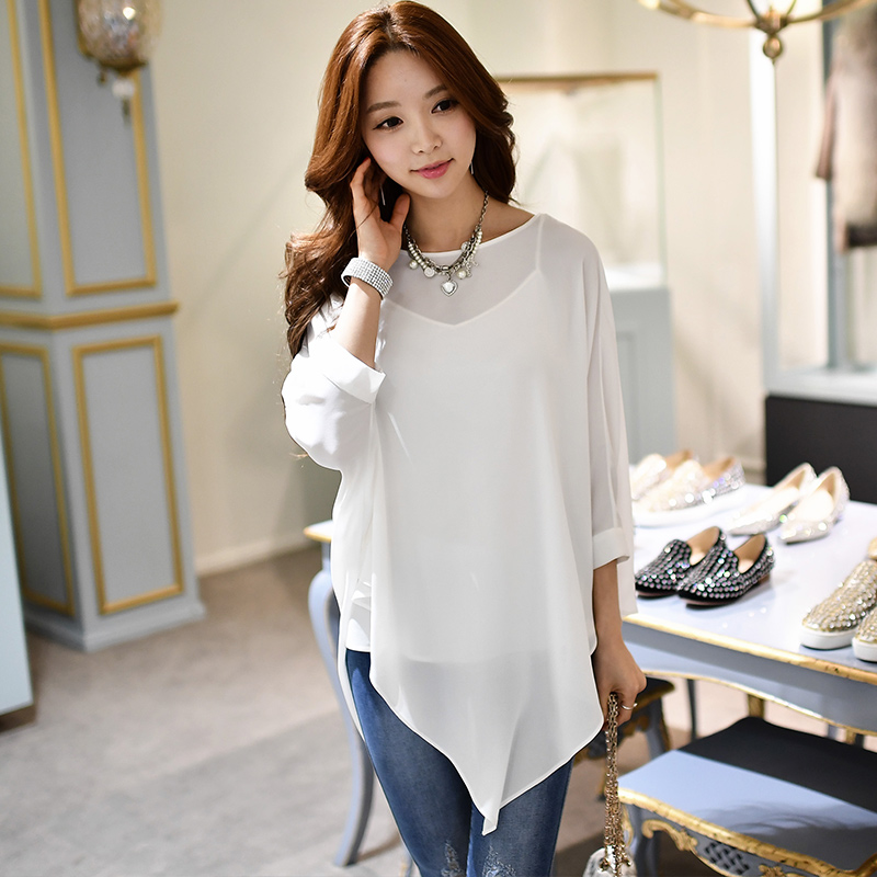 dabuwawa shirt female 2017 new fashion slim casual round collar irregular hem chiffon font b blouse