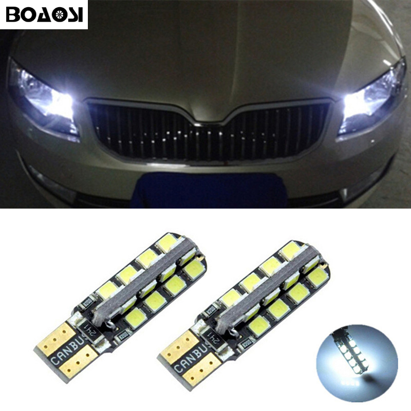 BOAOSI 2x T10 W5W 2835smd LED Wedge Light with Projector Lens for skoda octavia 2 a7 a5 fabia rapid yeti superb