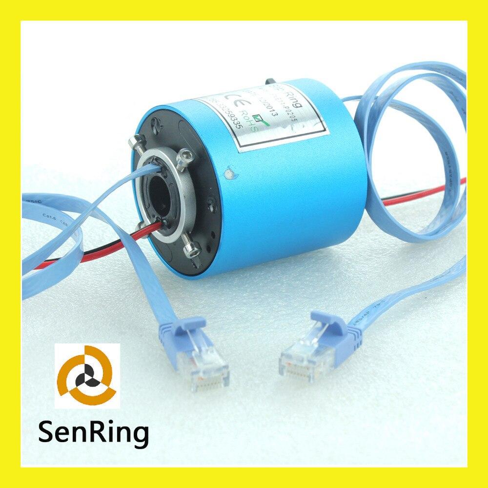 Diametro 12.7mm con 2 circuiti 5A di 1 canali ethernet RJ45 CAT 6 connettore di ethernet slip ring