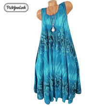 Pickyourlook Sleeveless Summer Dress Women Plus Size Floral Printed Loose Ladies For Female Casual Large Vestidos