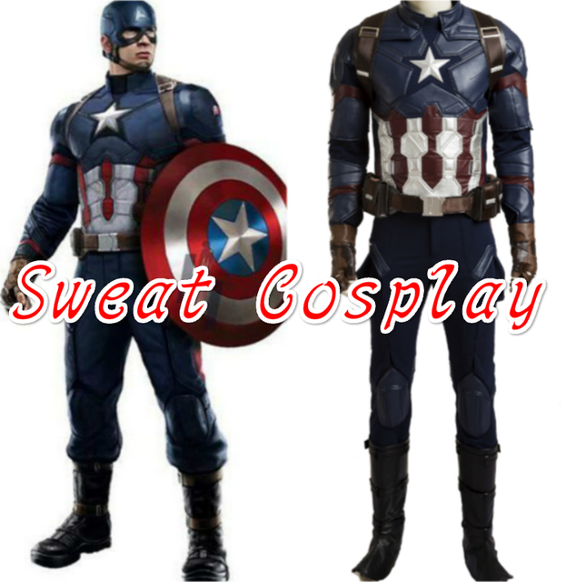 2016 high quality captain america civil war cosplay costume captain america costume adult men halloween costume