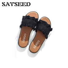 Female Slippers 2017 Summer New Shoes Low All-match Fashion Flowers Flat Slides women s slippers fashion casual all match bow tie flat shoes