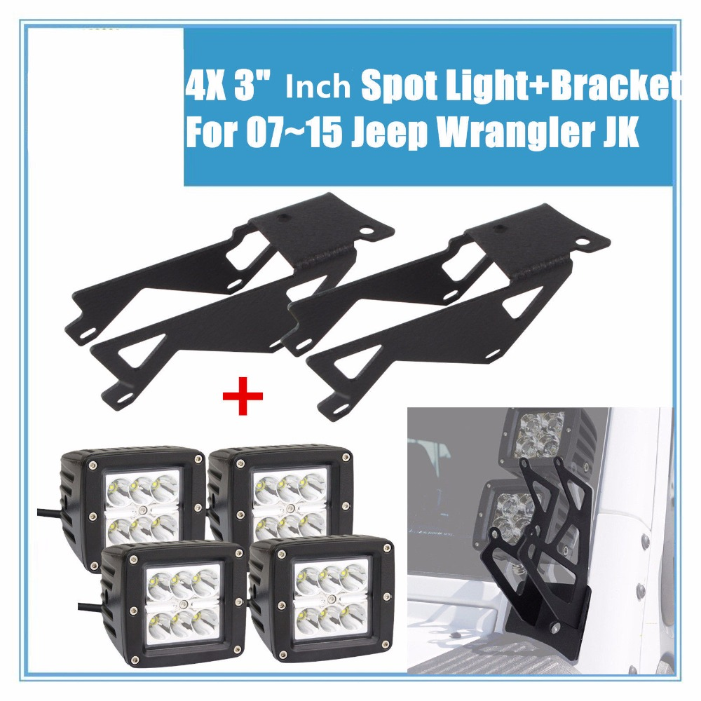 4X 3 18W Cube Pods LED Flood Spot Work Light Bar+ Pair Led Lights Bracket For 2007~17 Jeep Wrangler JK auxmart 22 led light bar 3 row 324w for jeep wrangler jk unlimited jku 07 17 straight 5d 400w led light bar mount brackets