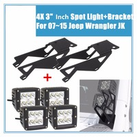 4X 3 18W Cube Pods LED Flood Spot Work Light Bar+ Pair Led Lights Bracket For 2007~17 Jeep Wrangler JK