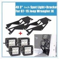 4X 3 18W Cube Pods LED Flood Spot Work Light Bar Pair Led Lights Bracket For