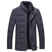 Male stand collar 80 velvet down jacket Business casual fur collar windproof jacket Winter warm detachable fur collar coat