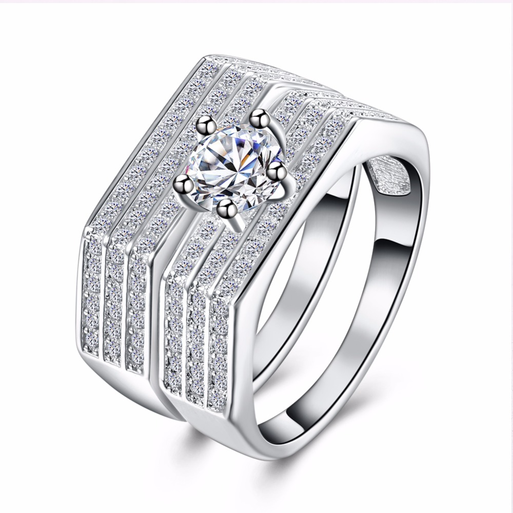 New 925 Top Quality Silver pated Double Wedding Ring Set with AAA Clear Zircon Woman Fashion Jewelry ship anel feminino