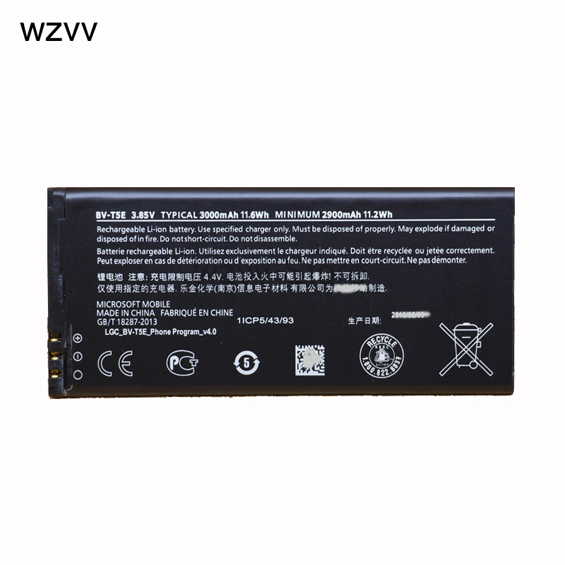 Wzvv BV-T5E телефон Батарея для Nokia <font><b>Lumia</b></font> <font><b>950</b></font> RM-1104 RM-1106 RM-110 МПЮП BVT5E 3000 мАч Замена Батарея
