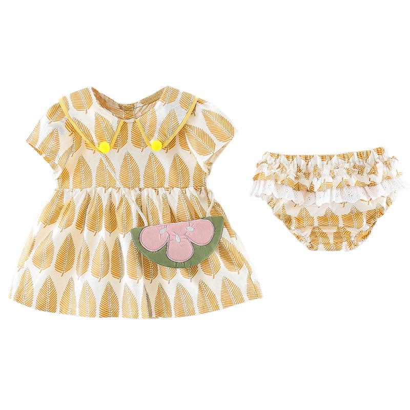 baby boy girl  Clothes  infant girl Set Short Sleeve Dress With Bag+Print PP Pants 2pcs Child Clothing High Quality