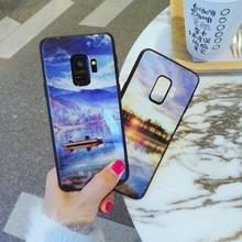 Tempered glass Case for Samsung Galaxy S9 Plus S9+ Landscape Back Cover Hard Case for Samsung Galaxy S9 S 9 Soft TPU Bumper Case s style anti slip protective tpu back case for samsung galaxy young s6310 black