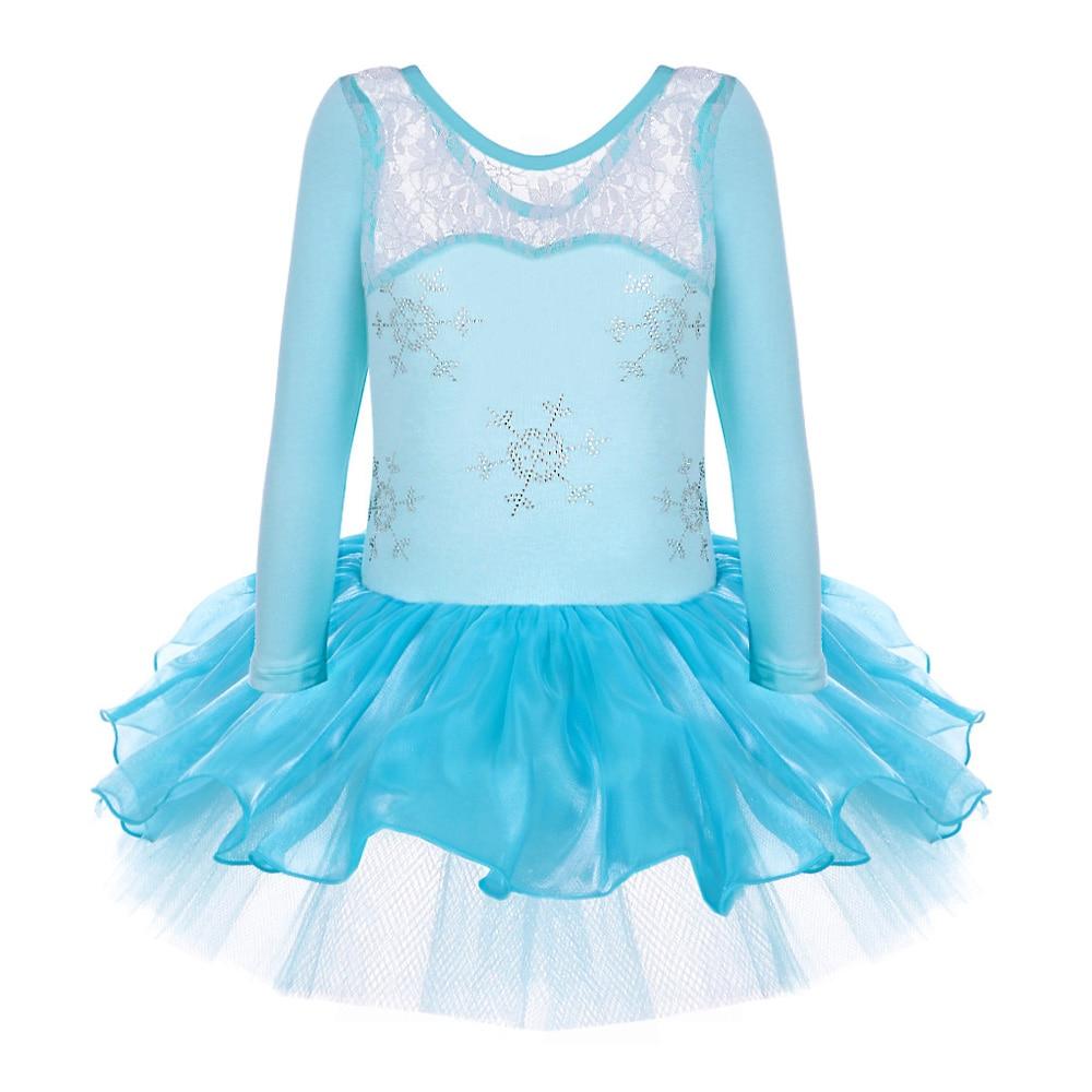 2018 Anna Princess Girls Elsa Snowflake Ballet Dress Leotard Long Sleeve Dancewear for 2-8Y Ballet Tutu Party Dress Dance Dress princess poppy ballet shoes