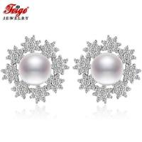 Flower Pure 925 Sterling Silver Pearl Earrings for Women Bride Jewelry 8 9MM White Freshwater Pearl Earrings Wedding Gifts FEIGE