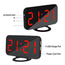 Alarm Clock Digital Clock with Large Easy Read LED Display Mirror Surface Dual USB Charger Port HG99