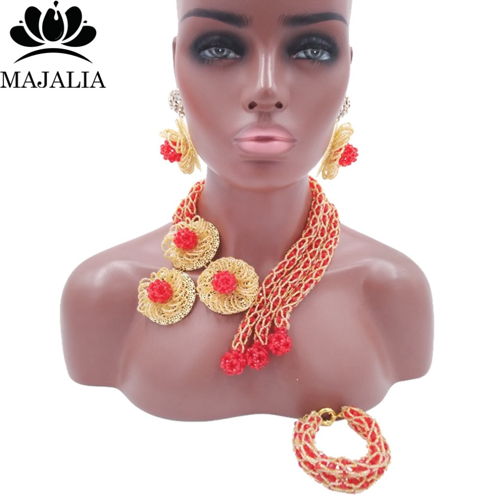 Trendy Nigeria Wedding african beads jewelry set red Crystal necklace bracelet earrings Free shipping VV-239Trendy Nigeria Wedding african beads jewelry set red Crystal necklace bracelet earrings Free shipping VV-239