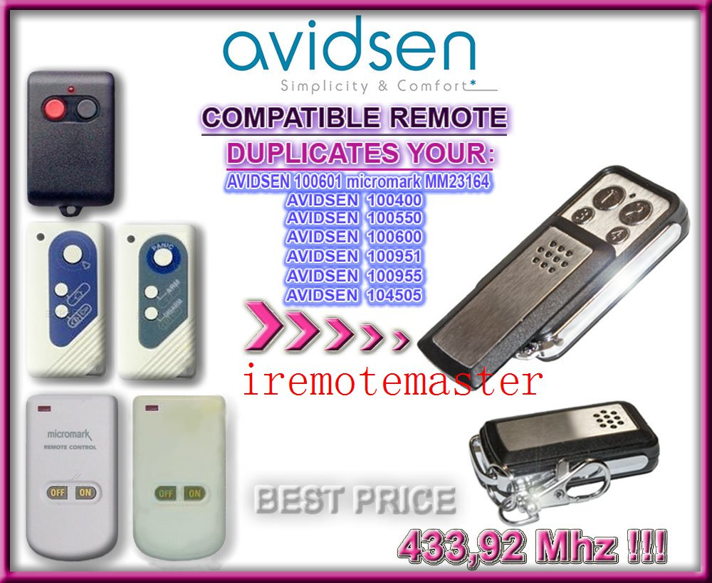 Favorable price ! Avidsen garage door remote 100400,100550,400600,100951,100955,104505,100601 micromark MM23164 high quality and favorable price for ecp garage door replacement remote