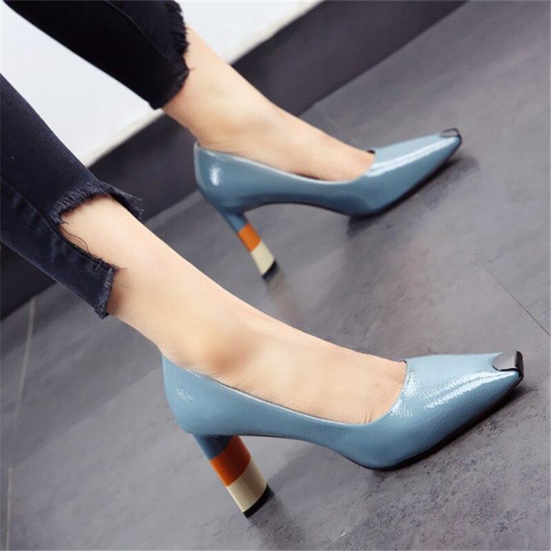 Dropshipping Colored Heel Fashion Women High Heel Shoes Metal Square Toe Girls Party Wedding Shoes Spring Women Pumps High Heels