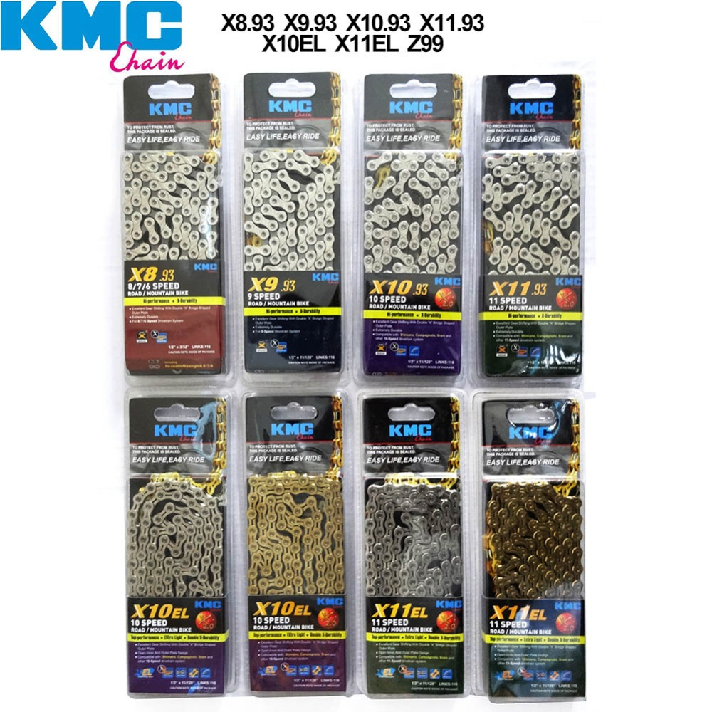 KMC Bike Chain Z99 X10EL X11EL X10.93 for 6 7 8 9 10 11 Speed MTB Mountain Road Bicycle Chain Titanium Golden Silver Color