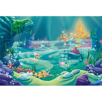 Little Mermaid Birthday Party Photo Booth Backdrop Fishes Bubbles Castle Under the Sea Princess Baby Girl Photography Background