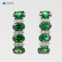 PJC boucles d'oreilles laboratoire créé 6*4 ovale jade et blanc diamant 925 classique
